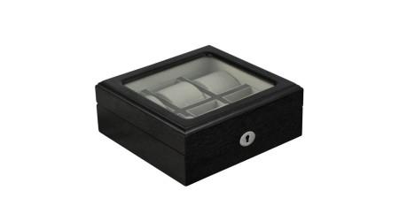 GC02-SP-06HW Fekete fa óratartó doboz 6 db órához