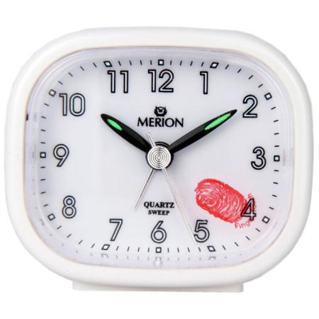 Merion 3746-7 fehér szögletes ébresztő óra